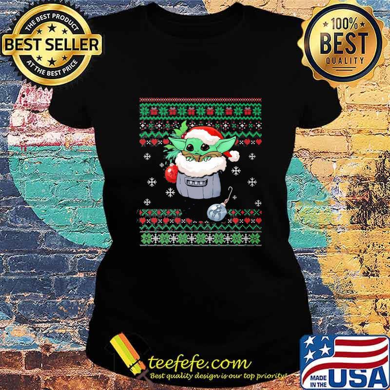 Official Yoda Baby Wear Pajama Santa Urgly Xmas Shirt Ladies tee