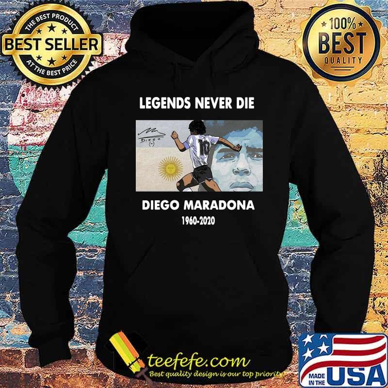 Rip Legends Never Die Diego Maradona 1960 2020 Sun Signature Shirt Hoodie