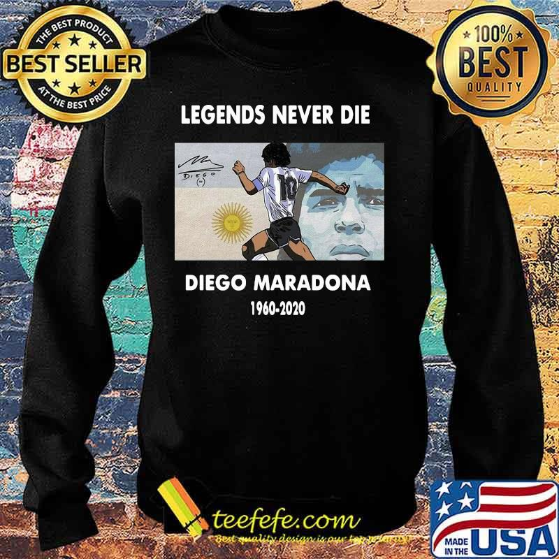 Rip Legends Never Die Diego Maradona 1960 2020 Sun Signature Shirt Sweater
