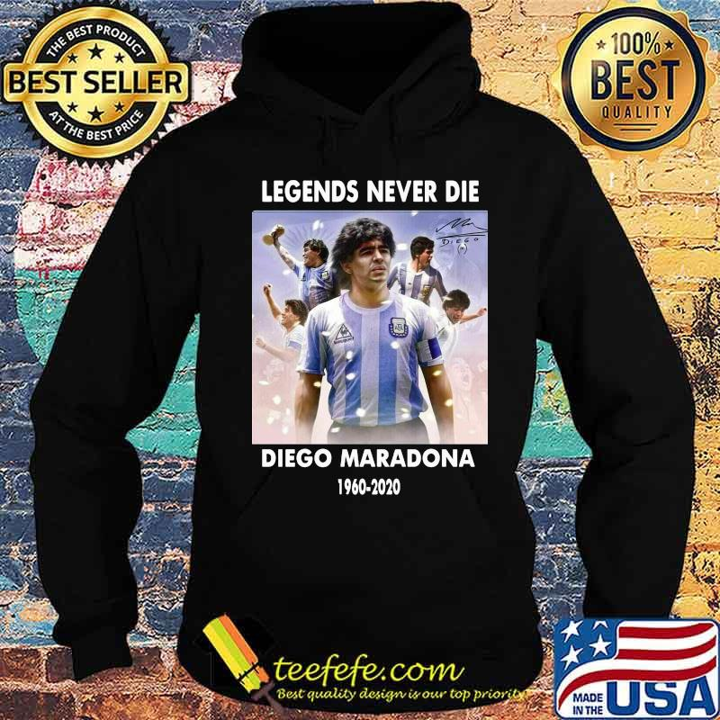 Rip Legends Never Die Diego Maradona Rip 1960 2020 Sun Signature Shirt Hoodie