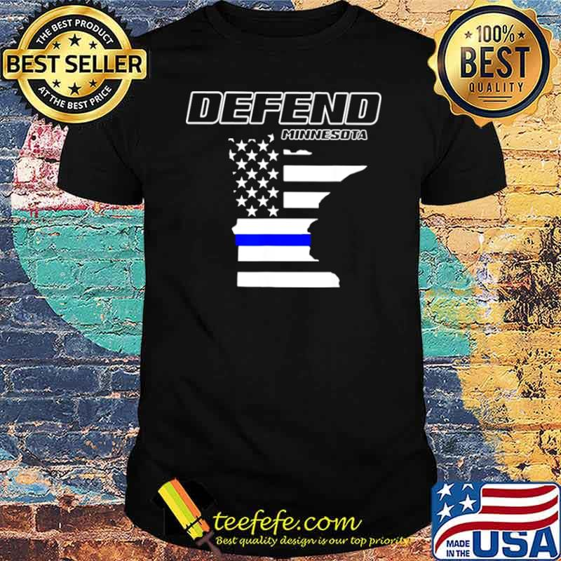 Minnesota State Defend Police Officer Support Blue American Flag shirt