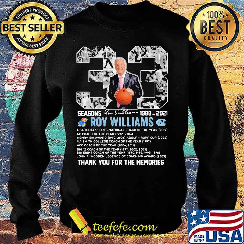 33 Seasons 1988 2021 Roy Williams Thank You For The Memories Signature Shirt Sweater