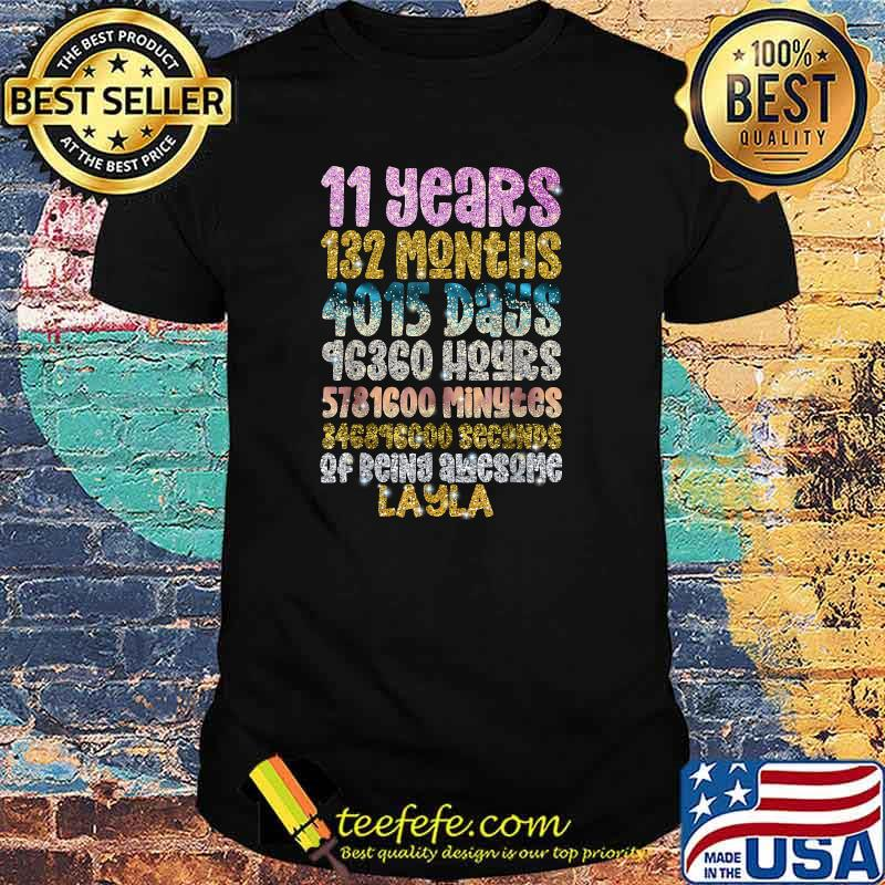 11 Years of Being Awesome Layla 11th Birthday Personalized Bling Shirt