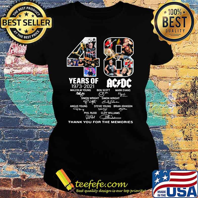 48 years of 1973 2021 AC DC Thank you for the memories signature Ladies tee