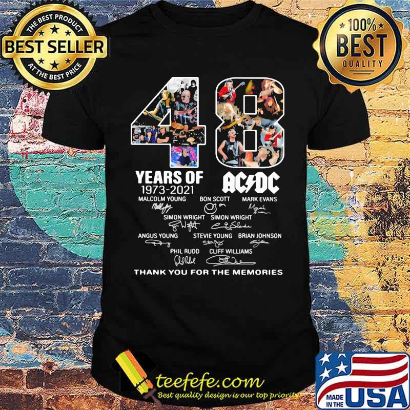 48 years of 1973 2021 AC DC Thank you for the memories signature shirt