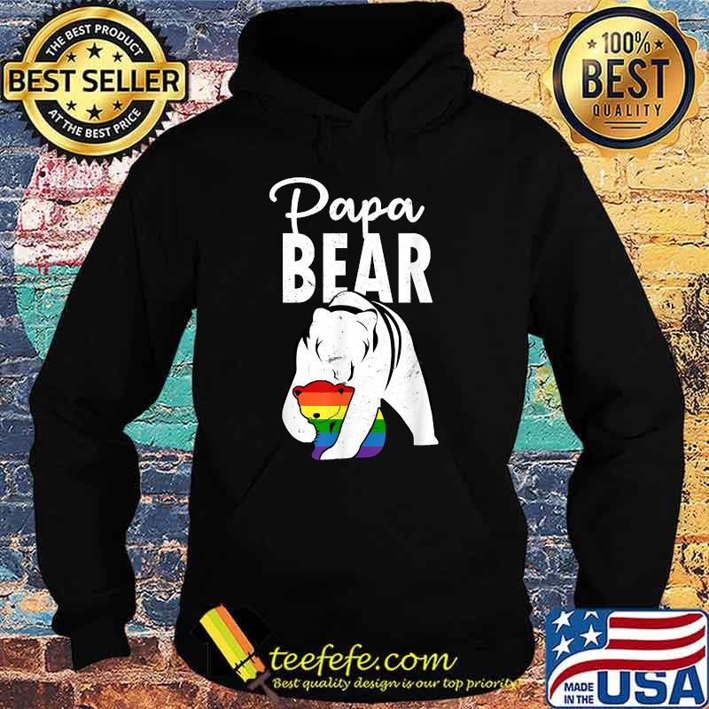 Papa Bear Gay Pride Rainbow Flag LGBT Dad Camping Father Day Shirt Hoodie