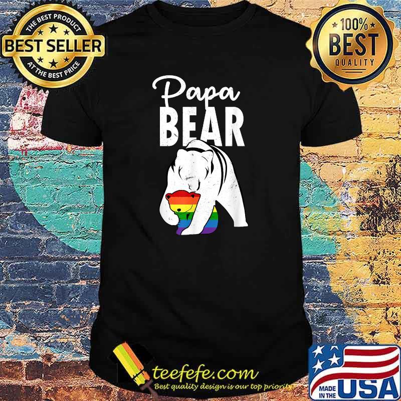 Papa Bear Gay Pride Rainbow Flag LGBT Dad Camping Father Day Shirt