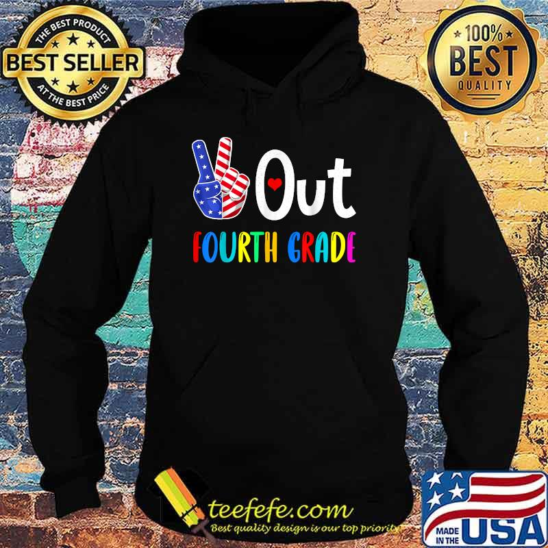 Peace Out Fourth Grade Last Day of School 4th Grade US Flag Shirt Hoodie