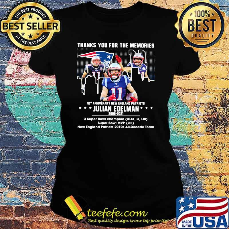 Thank you for the memories 12th anniversary new england patriots julian edelman 2009 2021 Ladies tee