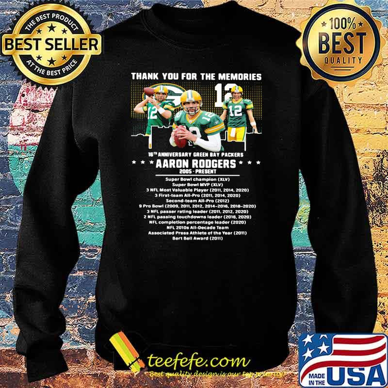 Thank you for the memories 16th anniversary green bay packers aaron rodgers 2005 Sweater