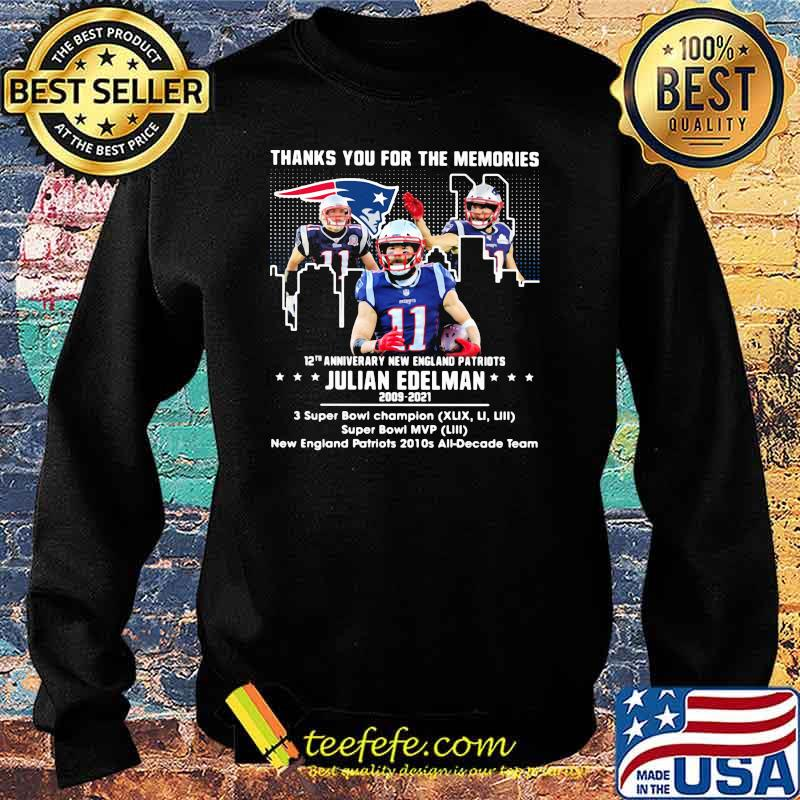 Thanks for the memories 12th anniversary new england patriots julian edelman 2009 2021 Sweater